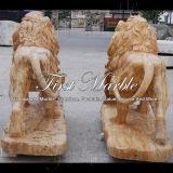 León de oro animal Ma-565 del calcio del granito animal de piedra animal de mármol