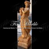 Hand-gesneden Standbeeld Van de vier seizoenen Mej.-517 van het Calcium van het Graniet van de Steen van het Beeldhouwwerk van de Travertijn Marmeren Gouden