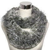 POM-Poms (YKY4363)를 가진 Fashion Faux Fur Knitted Scarf 숙녀