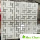 Thassos 백색 혼합 Ming 녹색 대리석 Pinwheel 모자이크 타일