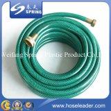 Tuyau de jardin en polyuréthane vert PVC flexible avec tuyère réglable Tuyau d'eau en PVC tressé