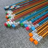 Crayon noir/jaune de bande d'HB avec ou sans la gomme à effacer