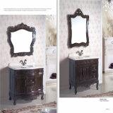Пол стоя шкафы раковины ванной комнаты твердой древесины с зеркалом