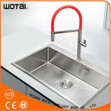 Почищенный щеткой Faucet кухни красной трубы никеля PVD однорычажный