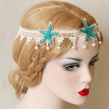 Accessori dei capelli delle fasce del merletto della perla e della stella blu