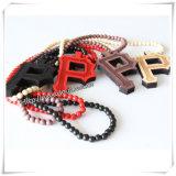 """Pingente de madeira """"P"""" de Hip Hop com corrente de contas de madeira de 36 polegadas (IO-wn031)"""