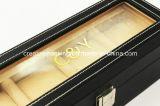 Caixa de armazenamento Handmade Eco-Friendly do relógio dos entalhes do couro 4 do plutônio do indicador de vidro