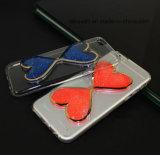 Tipo líquido barato caja del corazón del brillo de la arena de la venta al por mayor 3D TPU del teléfono de la arena movediza para el caso de la cubierta del iPhone 5/5s/Se