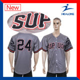 Impressão barata de Digitas do Sportswear de Healong com basebol Jersey do Mens do logotipo do bordado