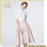 縞のピンクの女の子のスカートの女性の服が付いているタートル・ネックのShorの上