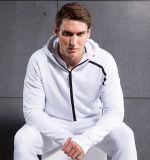 백색 Mens 스웨터 스포츠 Hoodies 의 두건이 있는 스웨트 셔츠를 위로 지퍼로 잠그십시오