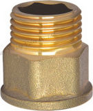 Guarnición de cobre amarillo del conector de la extensión de Hexgon (YD-6010)