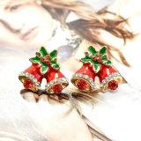 Brincos do parafuso prisioneiro de Bels do tinir do Natal do esmalte com Rhinestone de cristal