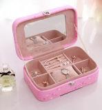 高品質の印刷PUの革宝石箱の哨舎の宝石箱
