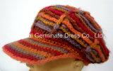 Chapéu de confeção de malhas da forma com a viseira que tricota manualmente (Hjb034)