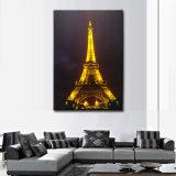 Peinture à l'huile en gros d'horizontal de Tour Eiffel DEL allumée vers le haut du mur AR de toile