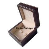 Caja de embalaje del regalo de Wholsale del almacenaje de cuero de madera negro de la joyería para el collar