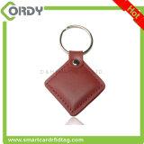 돋을새김 로고 13.56MHz MIFARE 고전적인 1K 가죽 RFID keyfob