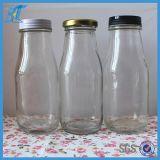 Bouteille en verre de yaourt de bouteille en verre de lait du conteneur de nourriture 280ml 10oz avec le couvercle en métal