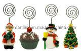 De Kerstman van Kerstmis van Polyresin, Sneeuwman, Kerstboom, de Giften van de Houder van de Klem