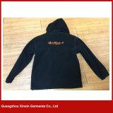 Jaqueta de lã preta unisexada de poliéster com bordados 280 GSM (J140)