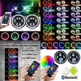 "Lantsun J223-2RGB 7 인치 RGB 달무리 반지 천사는 7개의 "" 지프 Jk Lj Cj 1997년 ~를 위한 둥근 다색 DRL Bluetooth 원격 제어 LED 헤드라이트를 2016년 주목한다"