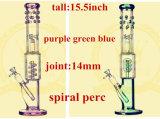 Tubo alto de cristal del vidrio del tazón de fuente del color del tabaco del reciclador de los tubos de agua que fuma S15