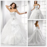Embroidery magnífico Bodice Ball Gown Wedding Dress con Removable Strap (XZ615)