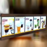 ライトボックスの正方形LEDメニューボードを広告するレストラン