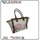 Saco de compra não tecido da mão da lona do algodão do couro do saco de compra da trouxa (X041)