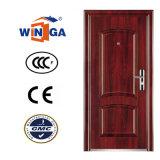 Puertas de acero vendedoras populares del color del metal exterior de madera de Securty (W-S-142)