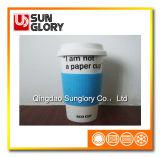 Tasse de porcelaine avec la caisse de silicones et couverture de Lkb024
