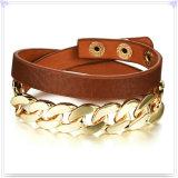 De Armband van het Leer van de Juwelen van het Roestvrij staal van de Juwelen van het leer (LB308)