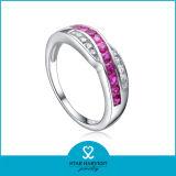Кольцо стерлингового серебра рубина 925 Whlolesale с нестандартной конструкцией (R-0086)