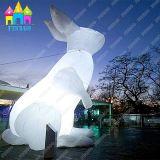 Aufblasbarer LED-riesiger im Freienpark, der die bunten Kaninchen-Hasen beleuchten weißes Kaninchen bekanntmacht