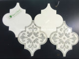Mosaico de mármol de la flor del mosaico de la flor gris y blanca