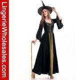Klassischer Frauen schwarz und grünes langes Kleid-Ersthexe Cosplay Kostüm mit schwarzer Weste