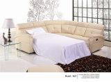 Beige Farben-Leder-Sofa-Bett mit Matratze