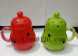 vaso di vetro del gufo rosso 150ml per la bevanda con il coperchio