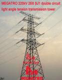 Doppia torretta della trasmissione di tensionamento di profilato leggero del circuito di Megatro 220kv 2e6 Sj1