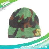 Крышка/шлем зимы акрилового жаккарда реверзибельные связанные с вышивкой (075)