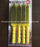Щетка комплекта стального провода ручки 4 частей желтая пластичная (YY-520)