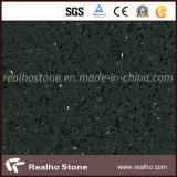 Encimeras de cristal negras populares de la piedra del cuarzo para la cocina