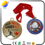 Medalla del metal. el metal de la insignia 3D se divierte la medalla del grabado de la medalla con la cinta colorida
