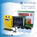 3つのLEDの球根が付いている5W携帯用小型太陽PVのシステム