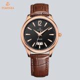 Relógio de pulso luxuoso de quartzo da forma da faixa do couro genuíno dos homens originais do tipo com o indicador grande 72129 da tâmara