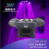 LED 9のくものビームCorey 1つのランプのビードの移動ヘッド段階ライト9鳥のくもヘッドライト10W 4