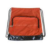 Fördernder 210d überprüfter Gewebedrawstring-Rucksack für Mitfahrer-Seitentrieb