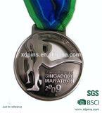 Medaglia personalizzata del premio del nichel dell'oggetto d'antiquariato di maratona di Singapore con la sagola