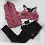 Três partes do Sportswear apertado do vestuário da ioga da ginástica do pé da aptidão Vest+Tops+Full